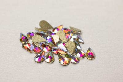 Bolle Druppel 8 mm Crystal AB Non hotfix Rhinestones figuren Superior Glamour kwaliteit