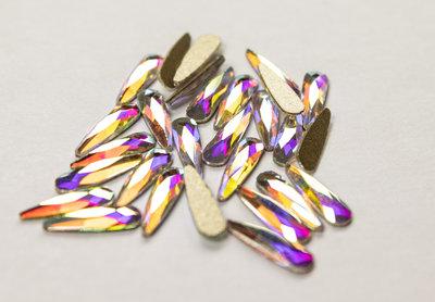 Druppel smal 10 mm Crystal AB Non hotfix Rhinestones figuren Superior Glamour kwaliteit