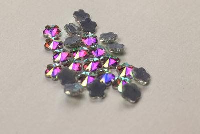 Bloemetje met vijf blaadjes 6 mm Crystal AB Hotfix Rhinestones Superior kwaliteit