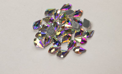 Bolle Druppel met Punt 8 mm Crystal AB Hotfix Rhinestones Superior kwaliteit