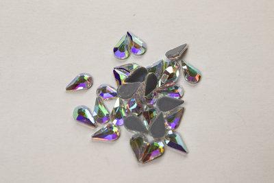 Druppel Vlak 8 mm Crystal AB Hotfix Rhinestones Superior kwaliteit