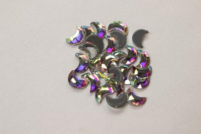 Halve Maan 8 mm Crystal AB Hotfix Rhinestones Superior kwaliteit