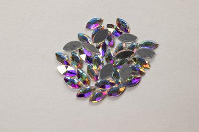 Oog 8 mm Crystal AB Hotfix Rhinestones Superior kwaliteit