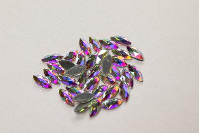 Smal Oog 8 mm Crystal AB Hotfix Rhinestones Superior kwaliteit