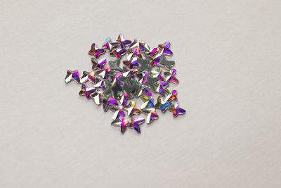 Vlindertje 4 mm Crystal AB Hotfix Rhinestones Superior kwaliteit