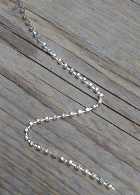 Strassketting 3 mm Crystal AB - Silver Cup