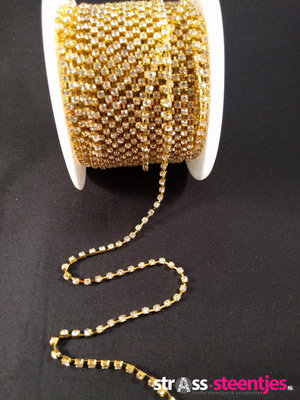 Strassketting 3 mm Crystal - Gold Cup