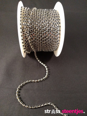 Strassketting 3 mm Black - Silver Cup