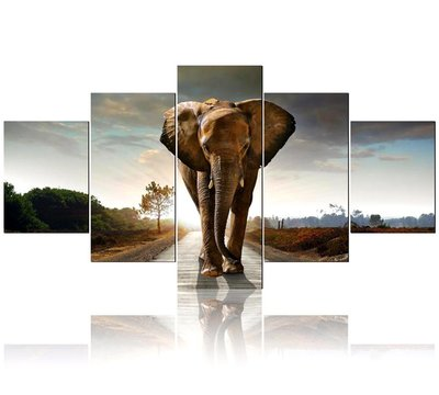 Diamond Painting pakket - Olifant 5 luik lopend op de weg 15x40, 2x15x30, 2x15x20 cm (Full) vierkante steentjes