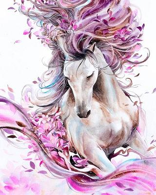 Diamond Painting pakket - Galopperend paard tussen de bloemen 40x50 cm (full)