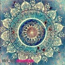 Diamond Painting pakket - Mandala in blauw tinten met ronde steentjes 45x45 cm (full)
