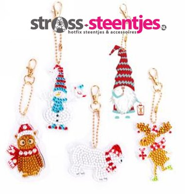 Diamond Painting Kerst Sleutelhangers Sneeuwpop, Rendier, Kabouter, Ijsbeer en Uil (Set 5 stuks)