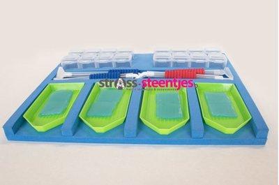 Blauwe Diamond Painting Schudbakjes Organizer 4 vaks met accessoires