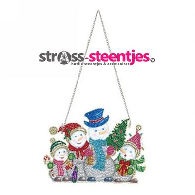 Diamond Painting kersthanger - Familie Sneeuwpop