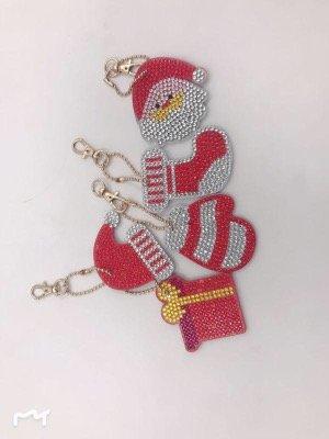 Diamond Painting Kerst Sleutelhangers Wit met rood (Set 5 stuks)