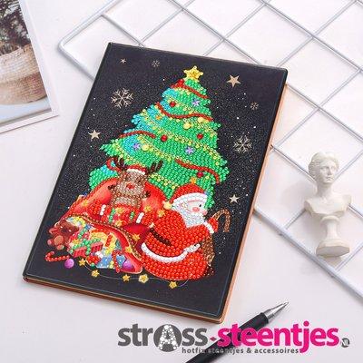 Diamond Painting Notitieboekje- Kerstboom met Kerstman en Zak met Cadeaus