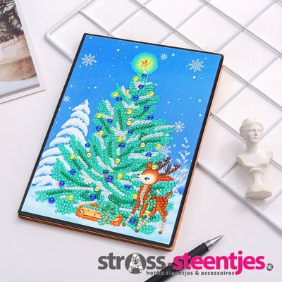 Diamond Painting Notitieboekje- Kerstboom met Rendiertje