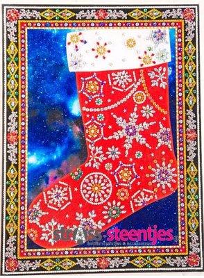 Diamond Painting pakket - Kerstsok met speciale vormstenen 30x40 cm (Special)