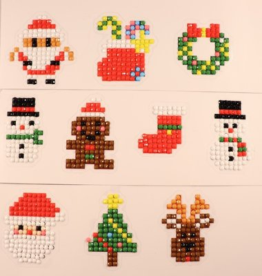 Diamond Painting Stickers - Set Kerstfiguurtjes (o.a. rendiertje) - 10 stuks
