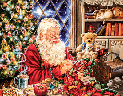 Diamond Painting pakket - De kerstman maakt een kleed aan zijn bureau 45x35 cm (full)