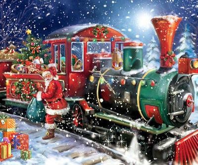 Diamond Painting pakket - De kerstman op zijn kerstlocomotief 60x50 cm (full)