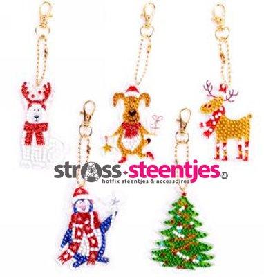 Diamond Painting Kerst Sleutelhangers Honden, Rendier, Pinguïn en Kerstboom (Set 5 stuks)