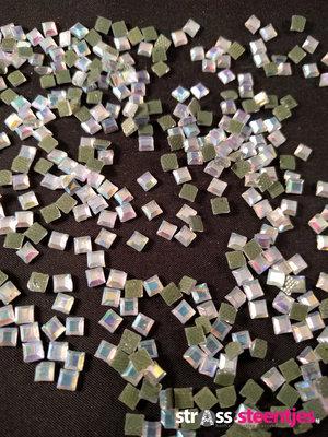 Hotfix Rhinestones Vierkant Crystal AB