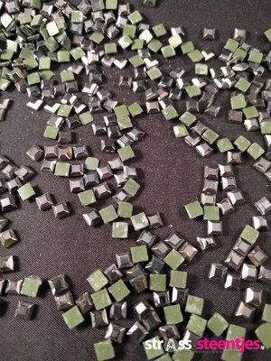 Hotfix Rhinestones Vierkant Hematite