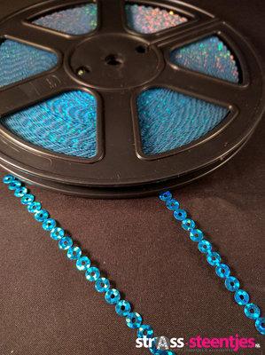 Strijkbare Pailletten op rol kleur aquamarine (per meter)