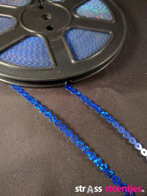 Strijkbare Pailletten op rol kleur blauw (per meter)