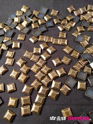 Hotfix Studs Figuur Vierkant 7 mm Kleur Brons