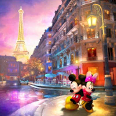 Diamond Painting pakket - Disney Mickey en Minnie Mouse in Parijs 20x20 cm