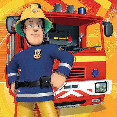Diamond Painting pakket - Brandweerman Sam en zijn brandweerauto 20x20 cm