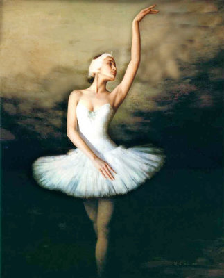 Diamond Painting pakket - Ballerina in het wit 50x62 cm (full)