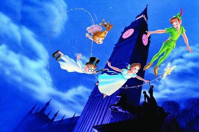 Diamond Painting pakket - Disney Vliegende Peter pan rond de toren 45X30 (full)