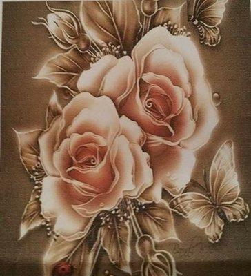 Diamond Painting pakket - Rozen met vlinders 40x40 cm (full)