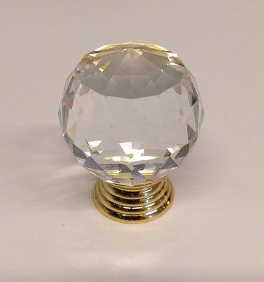 Deurknoppen 30 mm Gouden voet Kleur Crystal