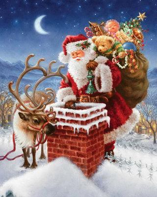 Diamond Painting pakket - De Kerstman op de schoorsteen op het dak 40x50 cm (full)