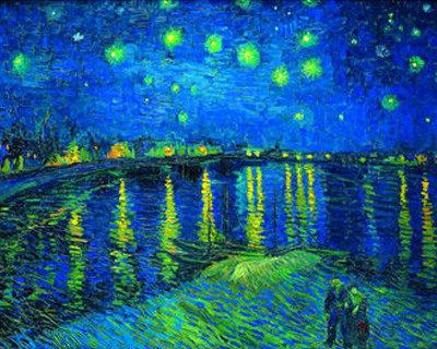Diamond Painting pakket - Van Gogh Sterrennacht boven de rivier de Rhone 40x30 cm (full)