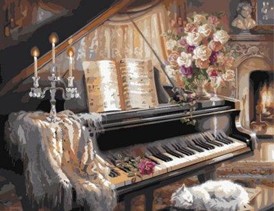 Diamond Painting pakket - Stilleven schilderij van een piano 30X40 cm (full)