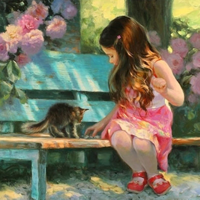 Diamond Painting pakket - Meisje met kitten op een bankje 30x30 cm (full)