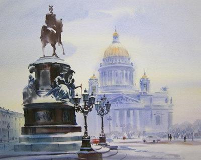 Diamond Painting pakket - Izaak kathedraal in St. Petersburg, Rusland 35x30 cm