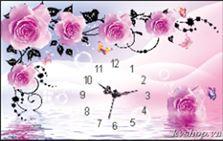 Diamond Painting pakket - Roze Rozen met klok 35x55 cm (full)