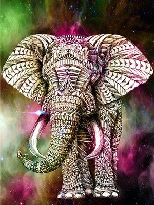 Diamond Painting pakket - Versierde olifant 30X40  (full)