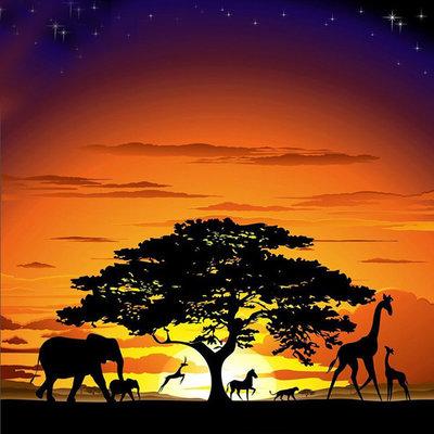 Diamond Painting pakket - De Savanne met wilde dieren onder een boom 50X50 cm (full)