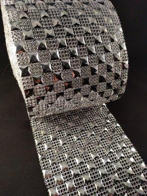 Non hotfix mesh rol Kleur Zilver met zilver vierkant
