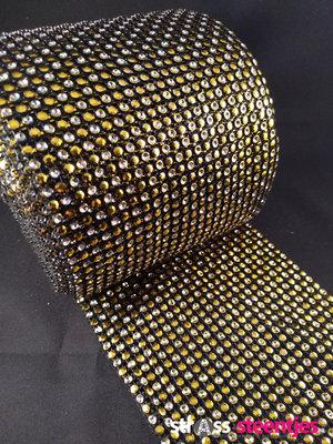 Non hotfix mesh rol Kleur Geel - Crystal