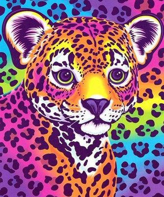 Diamond Painting pakket -Gekleurd luipaardje 25x30 cm (full)