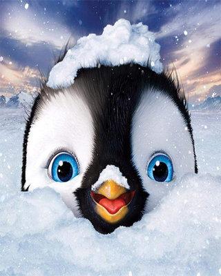 Diamond Painting pakket - Pinguin in de sneeuw 25x30 cm (full)