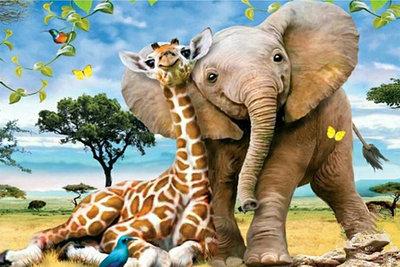 Diamond Painting pakket - Jonge Giraffe met jonge olifant 45X30 cm (full)